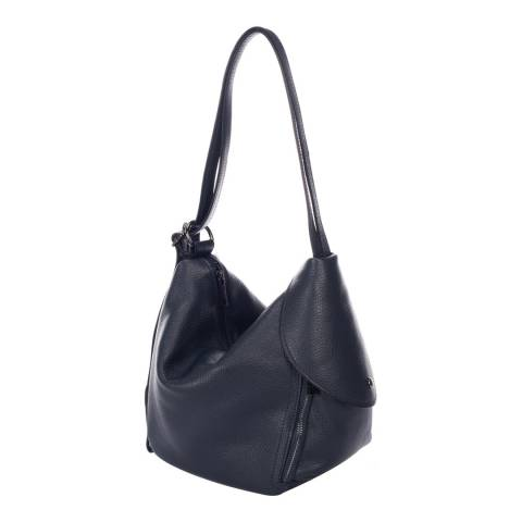 Giulia Massari Navy Leather Shoulder Bag