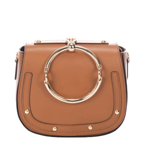Giulia Massari Brown Ring Handle Saddle Bag