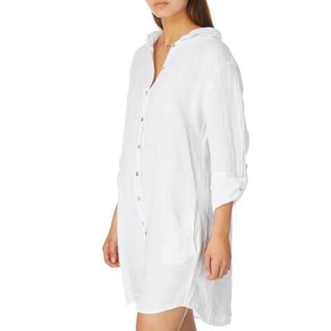 Alexandre Laurent White Rustic Finish Linen Tunic/Shirt