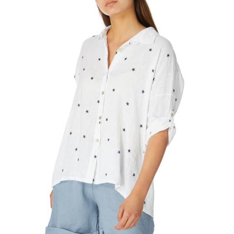 Alexandre Laurent White Star Print Linen Shirt