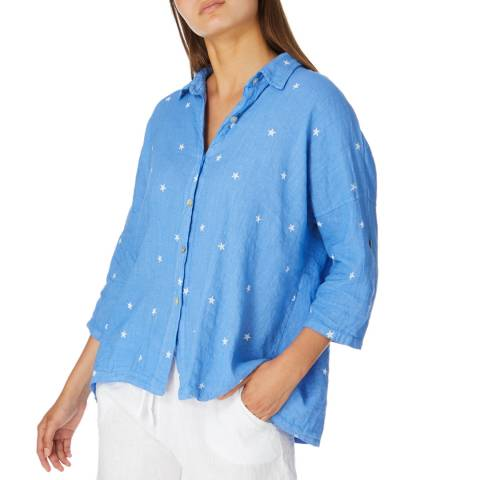 Alexandre Laurent Blue Star Print Linen Shirt