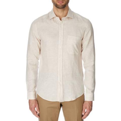 Reiss Beige/White Elba Linen Shirt