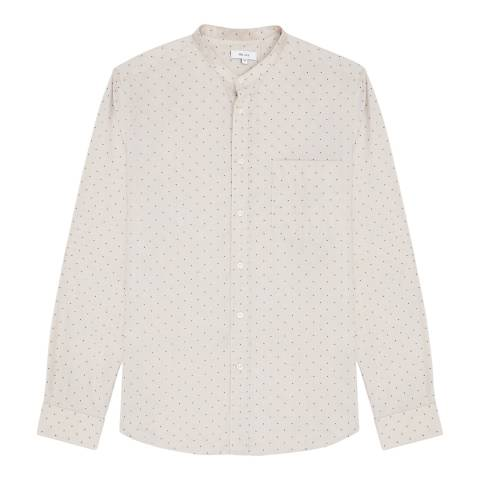Reiss Beige Waldorf Grandad Collar Shirt
