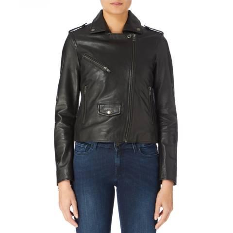 Muubaa Black Classic Leather Biker Jacket