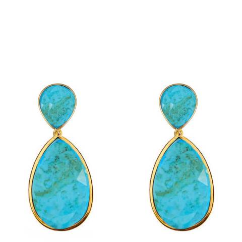 Liv Oliver Turquoise Double Pear Drop Earrings