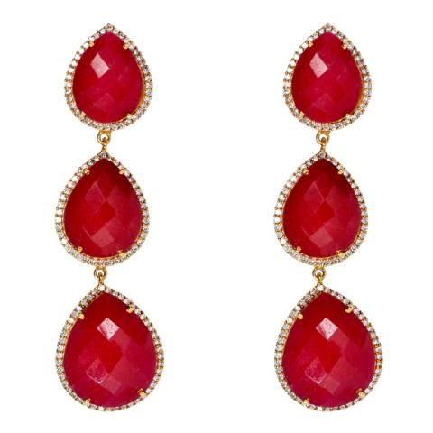 Liv Oliver Ruby Pear Drop Earrings