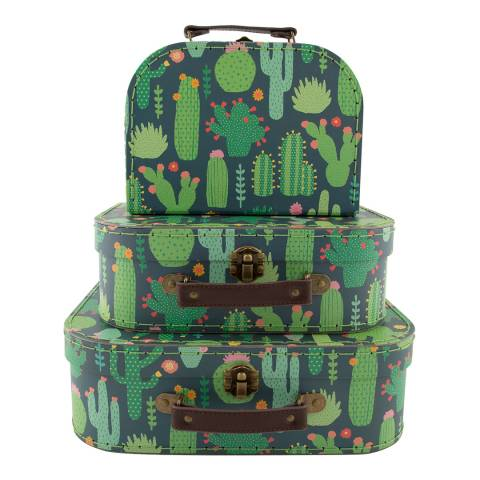 Sass & Belle Se Of 3 Colourful Cactus Suitcases