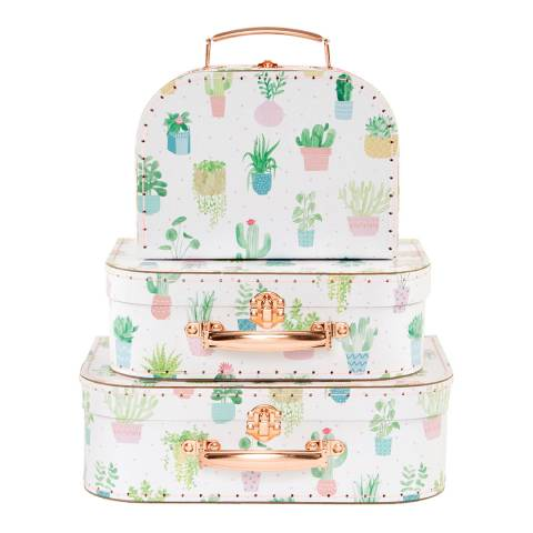Sass & Belle Set Of 3 Pastel Cactus Suitcases