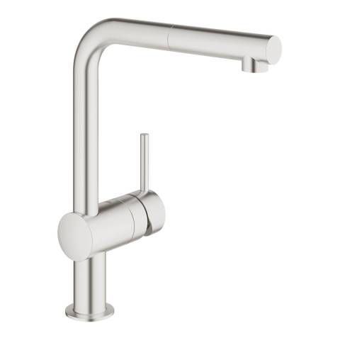 GROHE Minta Super Steel Single-Lever L-Spout Sink Mixer