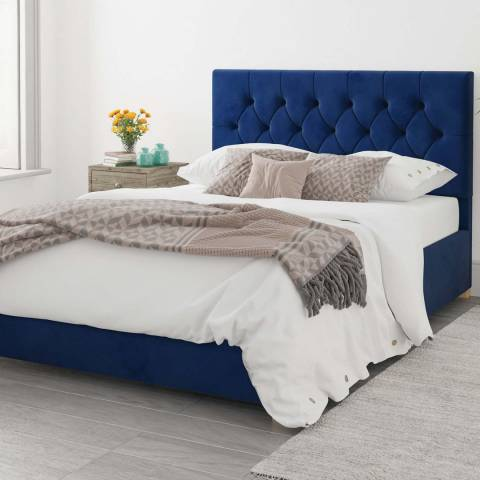 Aspire Furniture Olivier Navy King Plush Velvet Ottoman Bed