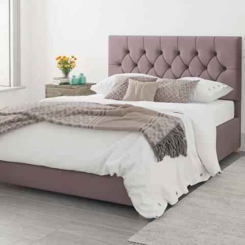 Aspire Furniture Olivier Blush Double Plush Velvet Ottoman Bed