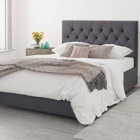 Aspire Furniture Olivier Plush Velvet Ottoman Bed - Steel - Kingsize (5')