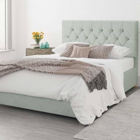 Aspire Furniture Olivier 100% Cotton Upholstered Ottoman Bed - Eau De Nil - Single (3')