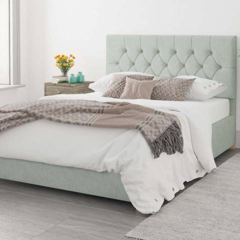 Aspire Furniture Olivier 100% Cotton Upholstered Ottoman Bed - Eau De Nil - Kingsize (5')
