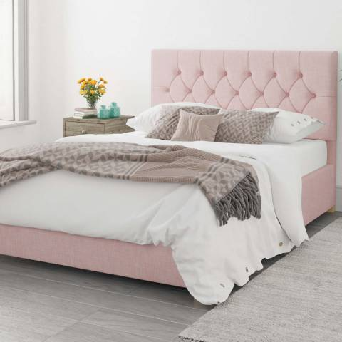 Aspire Furniture Olivier 100% Cotton Upholstered Ottoman Bed - Tea Rose - Small Double (4')