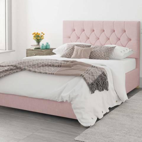 Aspire Furniture Olivier 100% Cotton Upholstered Ottoman Bed - Tea Rose - Superking (6')