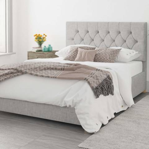 Aspire Furniture Olivier 100% Cotton Upholstered Ottoman Bed - Storm - Small Double (4')