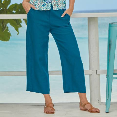 Aspiga Teal Linen Cropped Trousers