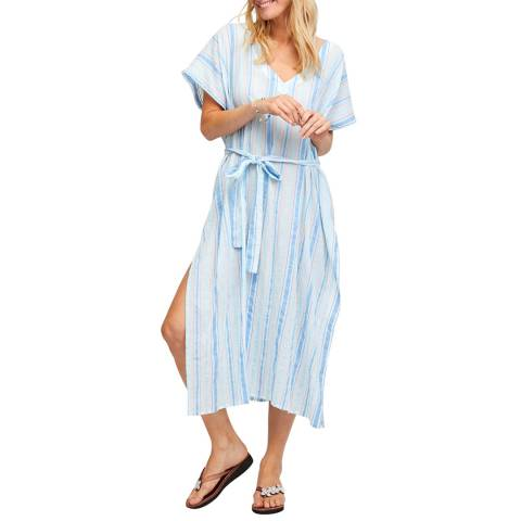 Aspiga Blue/White Amelia Striped Midi Kaftan