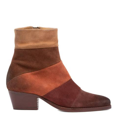 Hudson London Multi Tan Astor Suede Ankle Boot