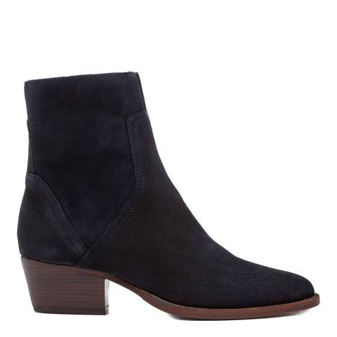H by Hudson Navy Beryl Nubuck Leather Ankle Boot
