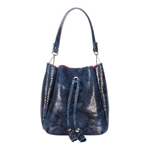Giulia Massari Blue Snake Print Leather Bucket Bag