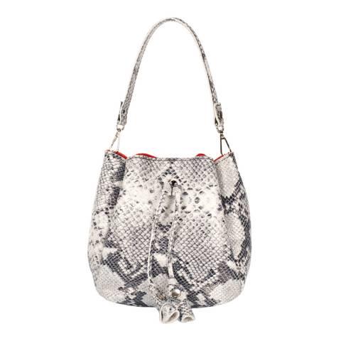 Giulia Massari Grey Snake Print Leather Bucket Bag