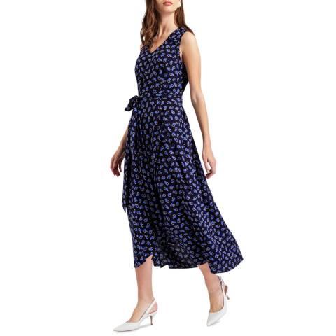 BGN Navy Printed Long Viscose Dress