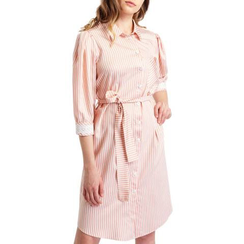BGN Soft Pink Lace Detailed Striped Dress