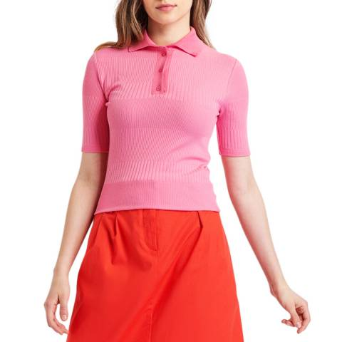 BGN New Pink Polo Collar Jacquard Jersey T-Shirt