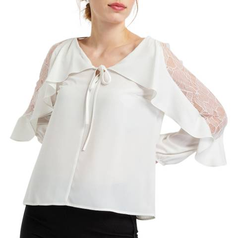 BGN Off White Ruffle Top