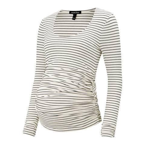 Isabella Oliver Ivory & Black Stripe Jamie Stripe Maternity Top