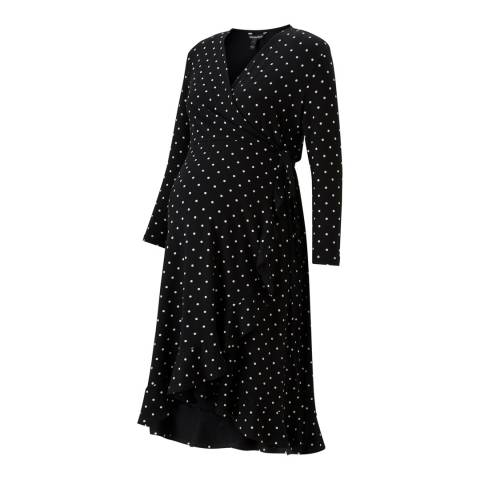 Isabella Oliver Black & White Polka Issie Maternity Ruffle Dress