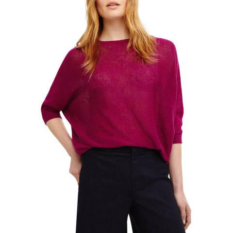 Phase Eight Berry Linen Delmi Knit Top