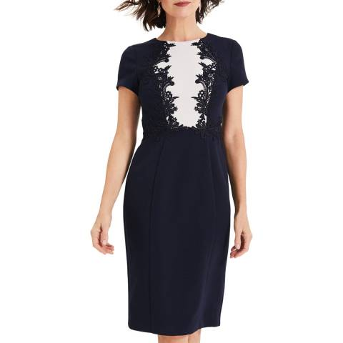 Phase Eight Navy Phoebe Lace Bodice Dress