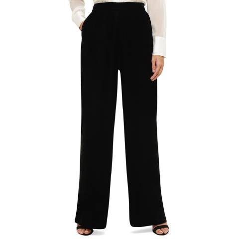 Phase Eight Black Tabby Velvet Wide Leg Trousers