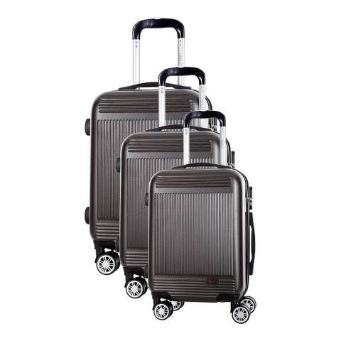 Morgan Dark Grey Grenade 8 Wheeled Suitcase Set of 3
