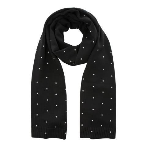 DKNY Black Silver Stud Wool Scarf