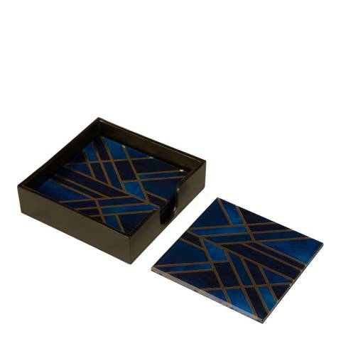 Fifty Five South Celina Deco Set of 4 Blue / Gold Coasters