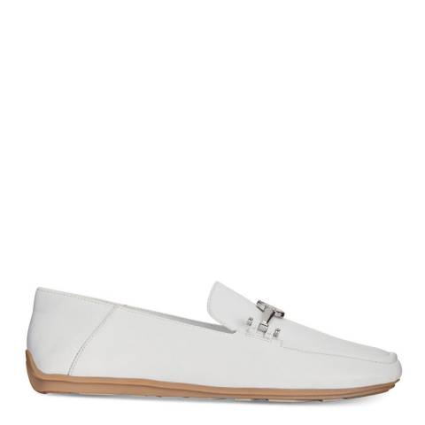 DKNY White Li Leather Loafer