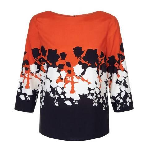 Hobbs London Orange/Navy Connie Top