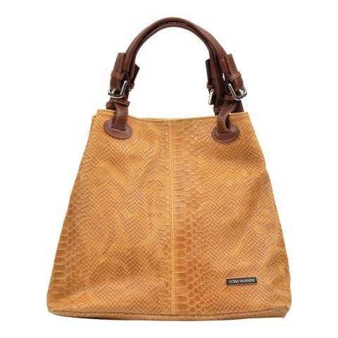 Luisa Vannini Tan Leather Shoulder Bag
