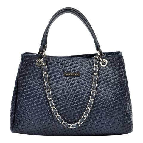 Renata Corsi Navy Leather Tote Bag
