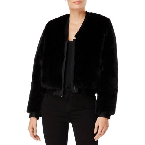 J Brand Black Ashbey Faux Fur Jacket