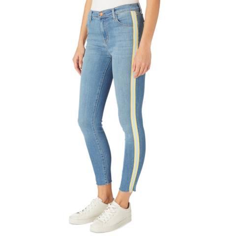 J Brand Blue Alana Stripe Skinny Stretch Jeans