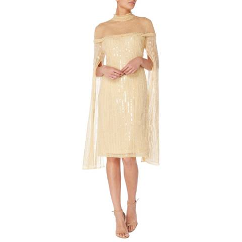 Raishma Gold Sequin Dress with Statement Sleeves