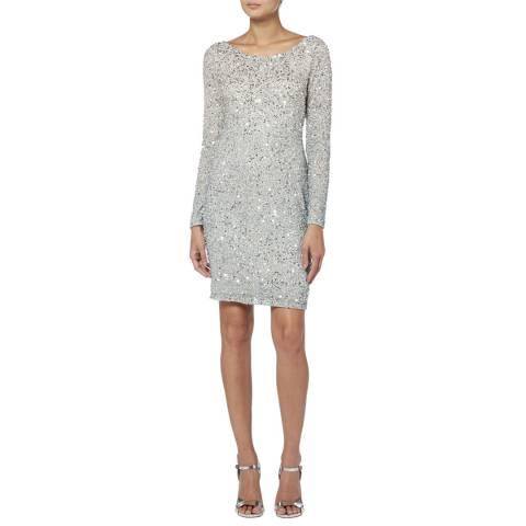 Raishma Silver Sequin Beaded Ombre Dress