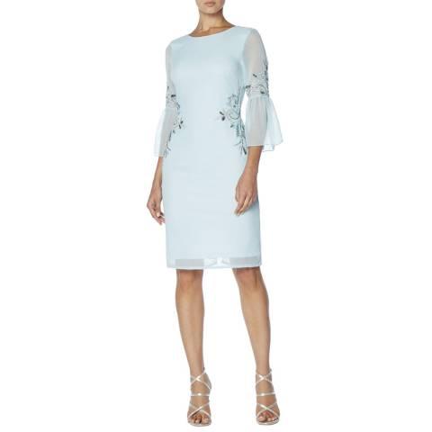 Raishma Blue Pleated Sleeve Midi Dress