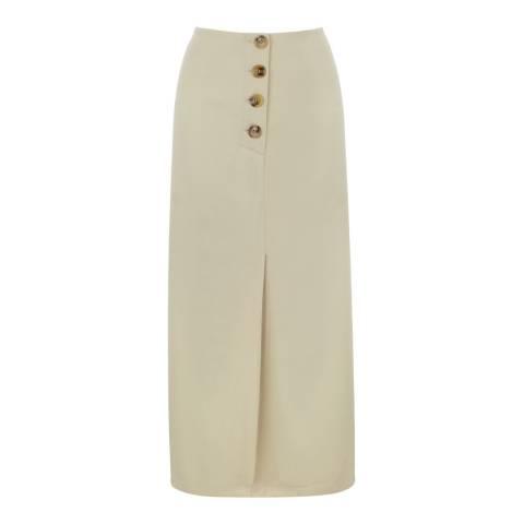 Oasis Cream Side Button Skirt