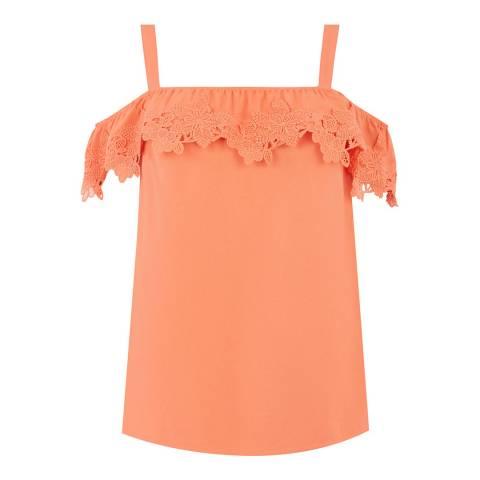 Oasis Coral Lace Trim Bardot Cami